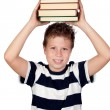 Student child with many books — Stock Photo