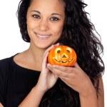 Attractive girl with Halloween flashlight — Stock Photo