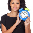 Attractive girl with a alarm clock — Stock Photo #9425777