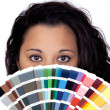 Attractive woman with a large sample of color — Stock Photo #9425809