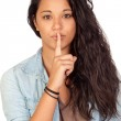 Attractive woman making a gesture of silence — Stock Photo #9425869