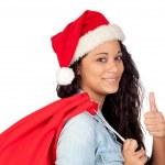 Attractive woman with Christmas saying Ok — Stock Photo