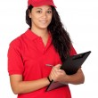 Young worker with red uniform — Stock Photo