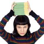 dziewczyna z książek w głowie — Zdjęcie stockowe #9429023