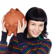 Casual girl with money box — 图库照片