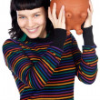 Stock Photo: Casual girl with money box