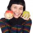 Adolescent with apples — Stock Photo