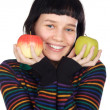 Adolescent with apples — Stock Photo #9429033
