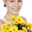 Attractive girl with flowers — Stock Photo #9429156