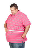 Fat man with a tape measure — Stock Photo