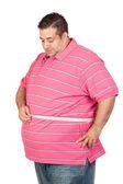 Hombre gordo con una cinta métrica — Foto de Stock