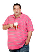 Fat man drinking a jar of beer — Stock Photo