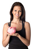 Attractive girl with money box — Foto de Stock