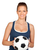 Attractive girl with soccer ball — Stock Photo