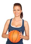 Attraktiva flicka med basket — Stockfoto