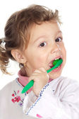 Girl cleaning the teeth — Stock Photo