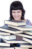 Girl and books — Stock Photo