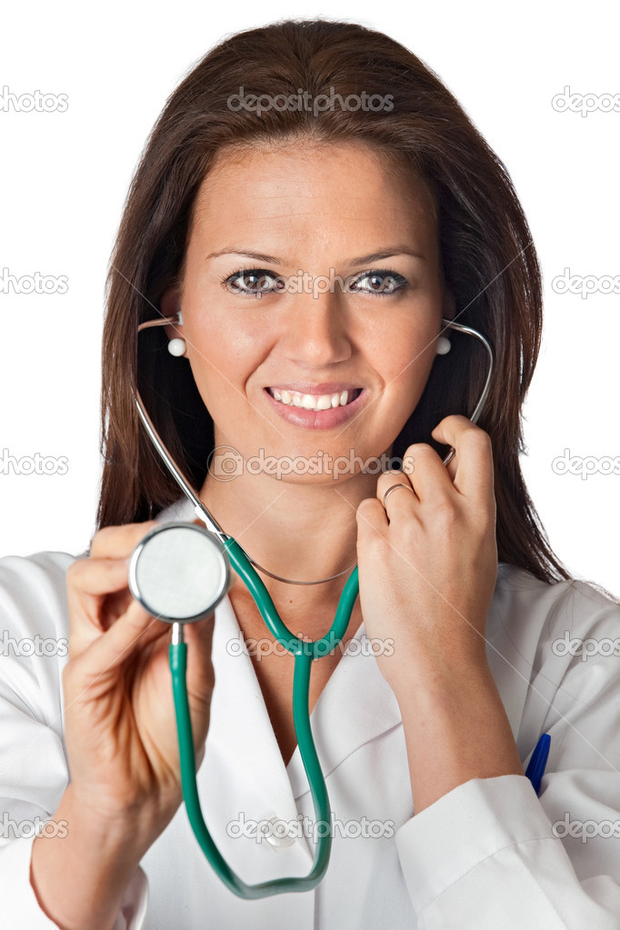 Attractive lady doctor over a white background — Stock Photo #9424871