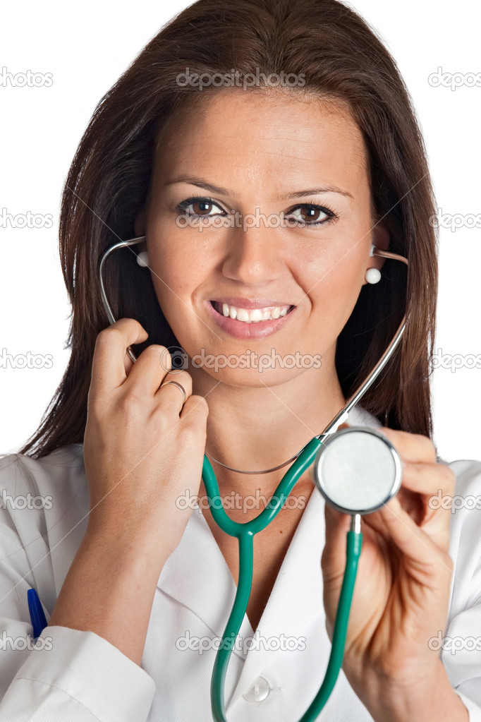 Attractive lady doctor over a white background — Stock Photo #9424872