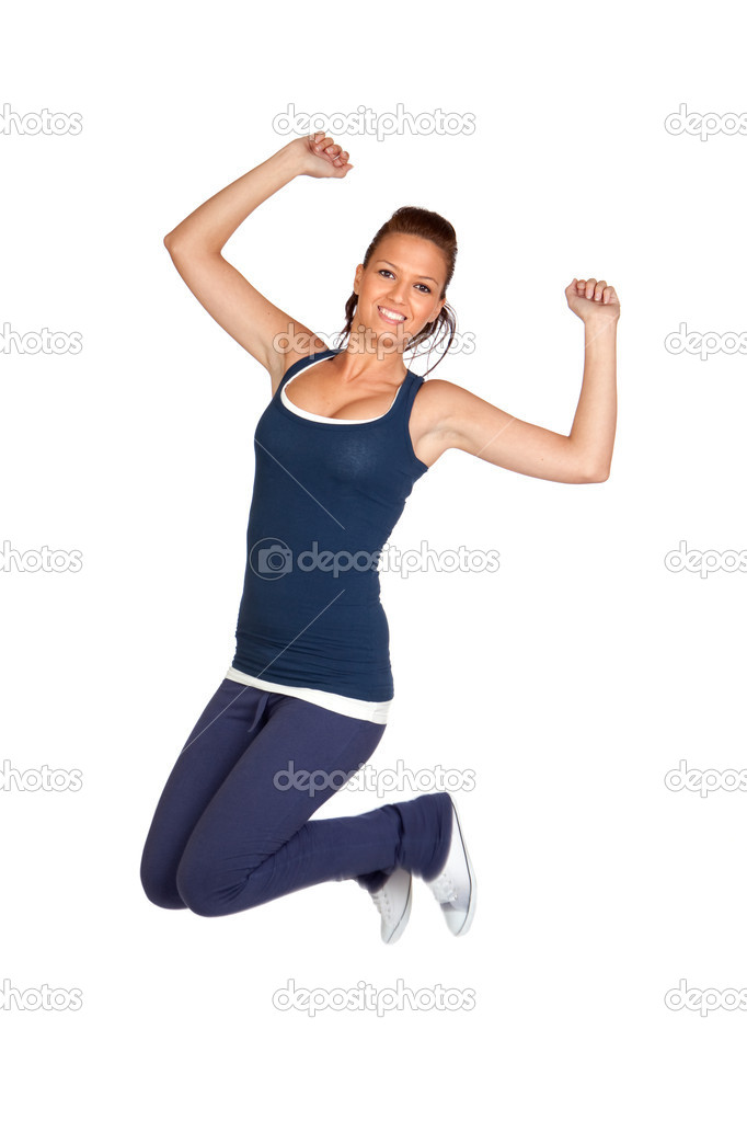 Attractive girl jumping isolated on white background  Stock Photo #9424962