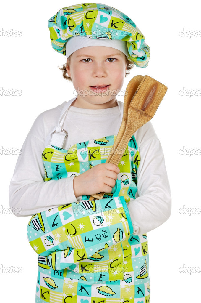 Adorable future cook a over white background  Stock Photo #9425446