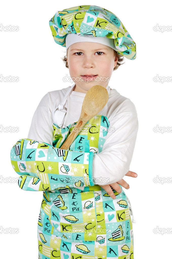 Adorable future cook a over white background — Stock Photo #9425449