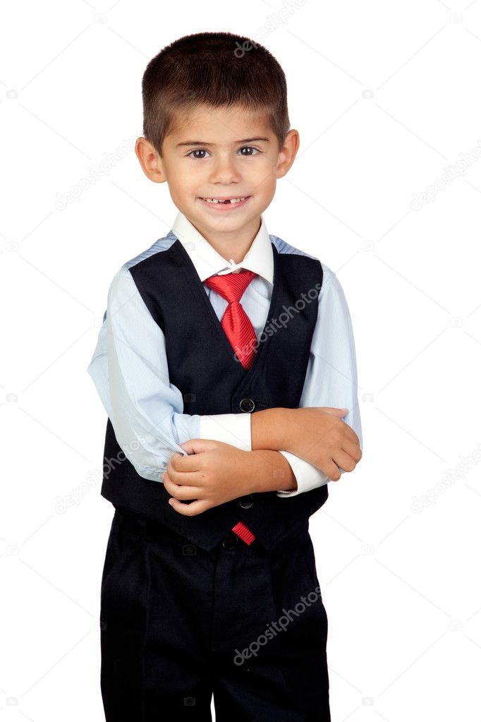 Little businessman isolated on a over white background — Stock Photo #9428427