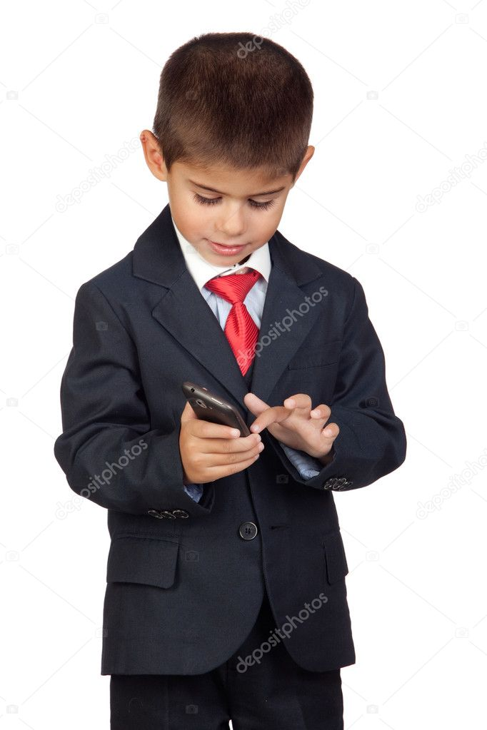 Little businessman sending a message with a mobile phone isolated on a over white background — Stock Photo #9428433