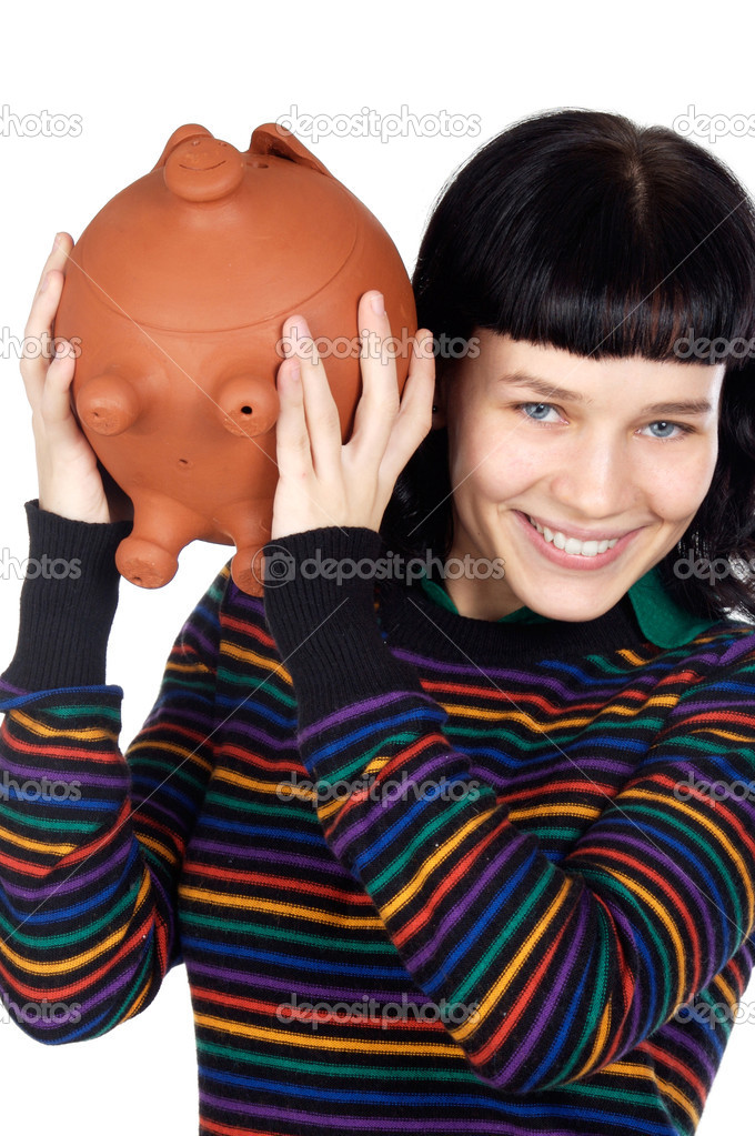 Attractive girl with money box a over white background — Stock Photo #9429030