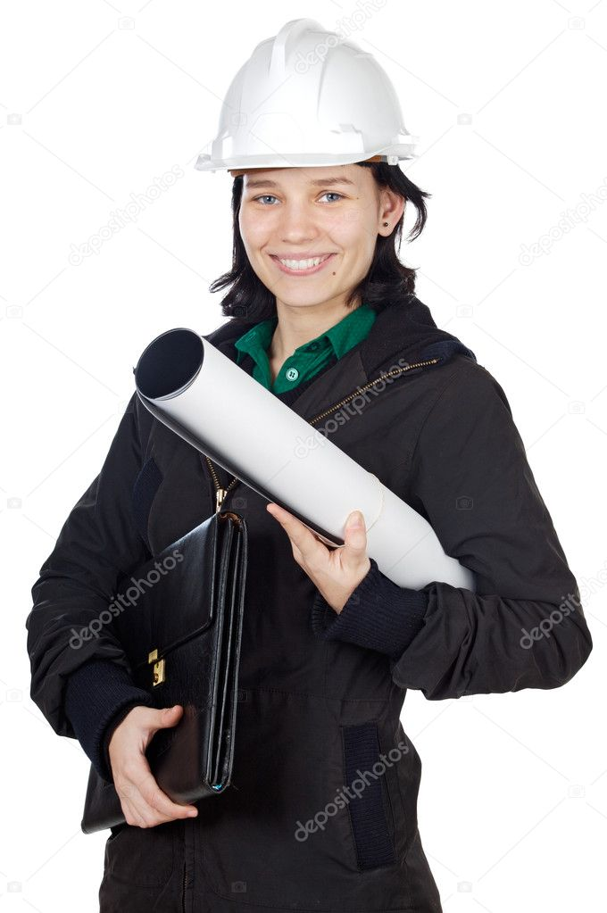Attractive young engineer over a white background  Stock Photo #9429081