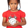Sad little girl with a silvered clock — Stock Photo #9430662