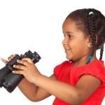 African little girl with binoculars — Stock Photo