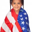 African little girl with a American flag — Stock Photo