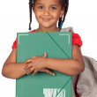 African little girl with a folder and backpack — Stock Photo #9430708