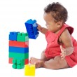 Baby with blocks — Stock Photo