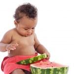 Baby eating watermelon — Stock Photo