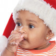 Baby girl with santa hat — Stock Photo
