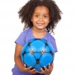 Adorable african little girl with soccer ball — Stock Photo #9431009