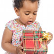 Baby with a gift box — Stock fotografie #9431321