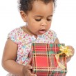 Baby with a gift box — Stockfoto