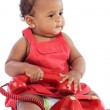 Baby with red phone — Stock Photo #9431382