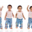 Photographic sequence of a hyperactive baby — Stock Photo