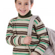 Adorable boy student with backpack — Stock Photo