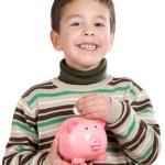 Adorable child with moneybox savings — Stock Photo