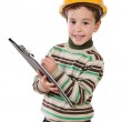 Adorable future engineer writing isolated — Stock Photo