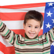Adorable boy with american flag — Stock Photo