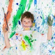 Boy playing with painting — Stock Photo #9432067
