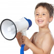 Child with a megaphone — Stock Photo