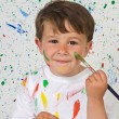 Funny little boy with his face painted — Stock Photo #9432094
