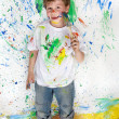 Boy playing with painting — Stock Photo #9432095